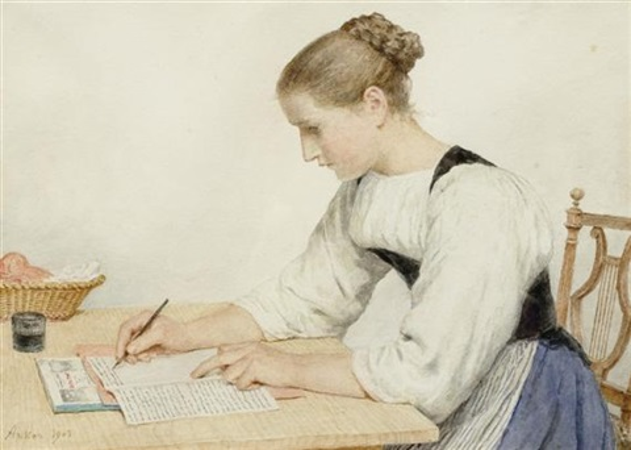 junge frau einen brief schreibend by albert anker