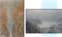 canyon stream in autumn (+ misty shoreline view; 2 works) by g.t. yokouchi