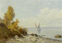 blick auf den genfersee mit einem segelboot by nathanaël lemaitre