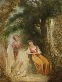 a girl asleep; the young lovers (pair) by jean antoine watteau