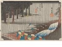 three oban yoko-e; from the series tokaido gojusantsugi no uchi (fifty-three stations of the tokaido road) (3 works) by ando hiroshige
