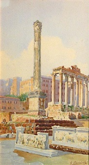 the roman forum (+ temple of hercules victor, rome; pair) by giovanni facciola