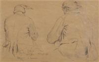 doppelseitig bemaltes blatt mit figurenstudien (double-sided) by albert anker