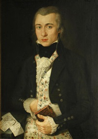 a portrait of a gentleman, half-length, wearing an elaborate waistcoat and holding a book in his left hand by continental school (18)