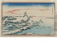 susaki yuki no hatsuhi (snow on new year's day at susaki) (+ shohei-zaka ochanomizu (shohei hill at ochanomizu); 2 works) by ando hiroshige