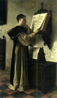 a monk at study by lionel charles henley
