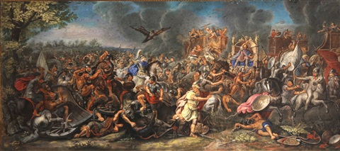 the battle of arbela (gaugamela) and alexander and porus, at the battle of hydaspes (pair) by charles le brun