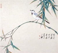 竹叶小鸟 (bamboo and birds) by qi yongcheng