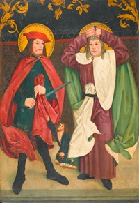 heiliger martin und panthaleon (+ grablegung christi; dbl-sided altar wing) by german school-swabian (16)