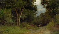 waldlandschaft mit einem fuhrwerk im hintergrund by adolf (johann) staebli