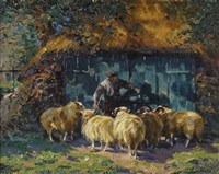 a barnyard scene with sheep by johannes wilhelm van der heide