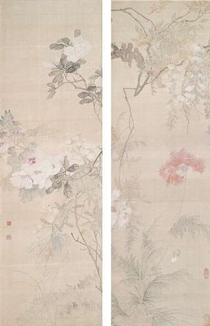 rosen und malvenmohn unter glyzine 2 works by tang shishu