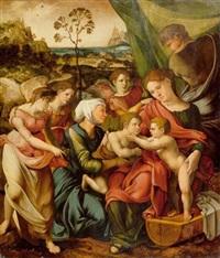die heilige familie vor einer weiten landschaft (collab. w/master of the parrot) by lucas gassel