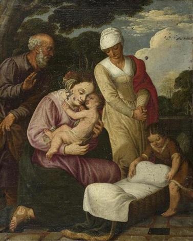 heilige familie mit heiliger elisabeth und dem johannesknaben by johann hans konig