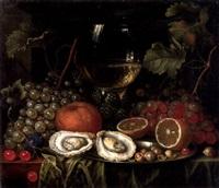 stilleben mit römer, früchten und austern by cornelis de bryer