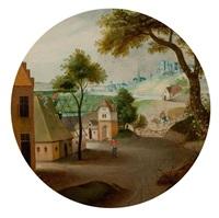 darstellung des monats juni mit einer dorfszene by abel grimmer