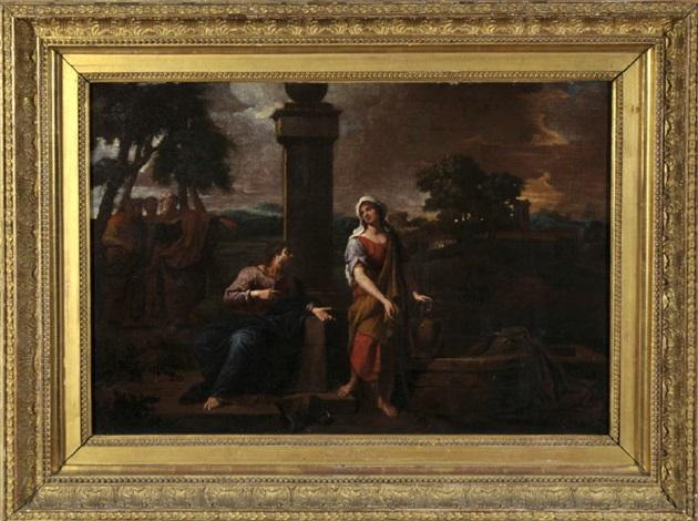 am jakobsbrunnen - jesus gibt sich einer samariterin als messias zu erkennen und wird von seinen jüngern verwundert beobachtet by nicolas poussin