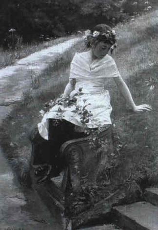 ein junges mit blumen bekranztes madchen sitzt in einer parklandschaft by carl rudolph sohn