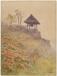 landscape with bell tower by shinzo kawai