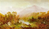 two figures gazing out on a wooded landscape and distant mountains by fredrick a. butman