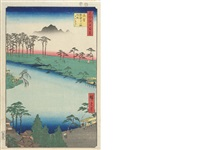 five oban tate-e; from the series meisho edo hyakkei (100 famous views of edo) (5 works) by ando hiroshige