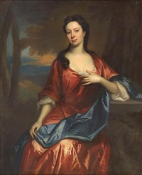 a portrait of a lady in a red dress by andrea soldi