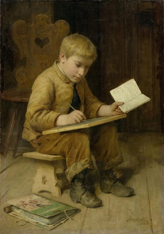 schreibender knabe by albert anker