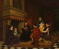 an interior with figures in the time of catherine de medici by charles louis kratke