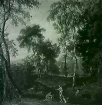 diana and nymphs hunting in an arcadian forest by johannes gottlieb glauber