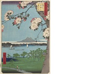 three oban tate-e; each from the series meisho edo hyakkei (100 famous views of edo) (3 works) by ando hiroshige