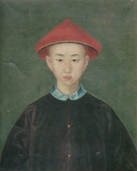 a portrait of a young boy wearing a red hat with black silk trim and a purple coat with a blue collar by jean-denis attiret