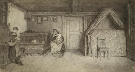 familienszene in einem interieur by albert anker