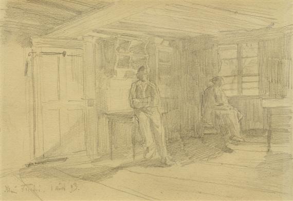 bauernstube mit zwei personen by albert anker