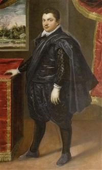 standbildnis eines edlemannes in einem interieur by domenico tintoretto