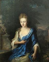 a portrait of a lady, half-length, wearing a white dress with a blue wrap, seated in a garden by daniel haringh