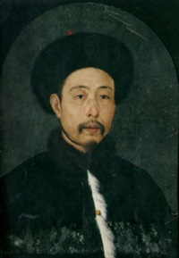 a portrait of a chinese man wearing a black fur cap and a black coat with a white fur trim and a fur collar by jean-denis attiret