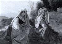zwei junge italienerinnen in ihrer landestracht by antoine xavier gabriel de gazeau