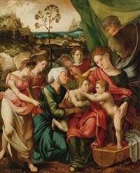 die heilige familie vor einer weiten landschaft by lucas gassel and master of the parrot