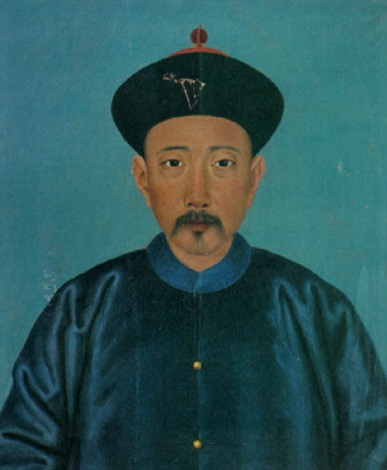 a portrait of a chinese man wearing a royal blue silk coat with gold buttons and a black cap with red ornamentation by jean denis attiret