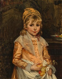 a girl with apples by margarethe loewe-bethe