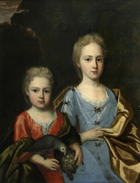 a portrait of two children, the younger child holding a parrot and a bunch of grapes by john smibert