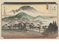 three oban yoko-e (from the series omi hakkei no uchi (eight views in omi province)) (3 works) by ando hiroshige