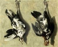 trompe l'oeil mit zwei hühnern by jacobus biltius