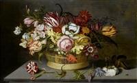 blumenstilleben in einem flechtkorb mit insekten auf einem tisch by ambrosius bosschaert the younger