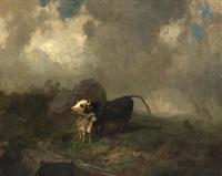 kühe im gewitter by johann rudolf koller