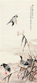 庐雁图 镜心 设色纸本 by wu qingxia