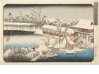seven oban tate-e (from toto meisho (famous views in the eastern capital)) (7 works) by ando hiroshige