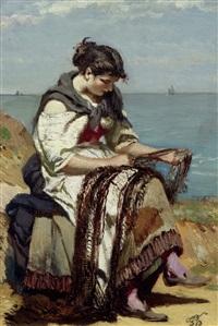 sitzende fischersfrau an einer küste by frank buchser