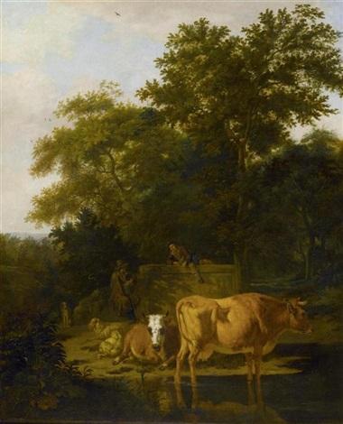 hirten und kühe am fluss in einer waldlandschaft by adriaen van de velde