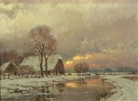 a winter landscape, sunrise by hans van moerkerken
